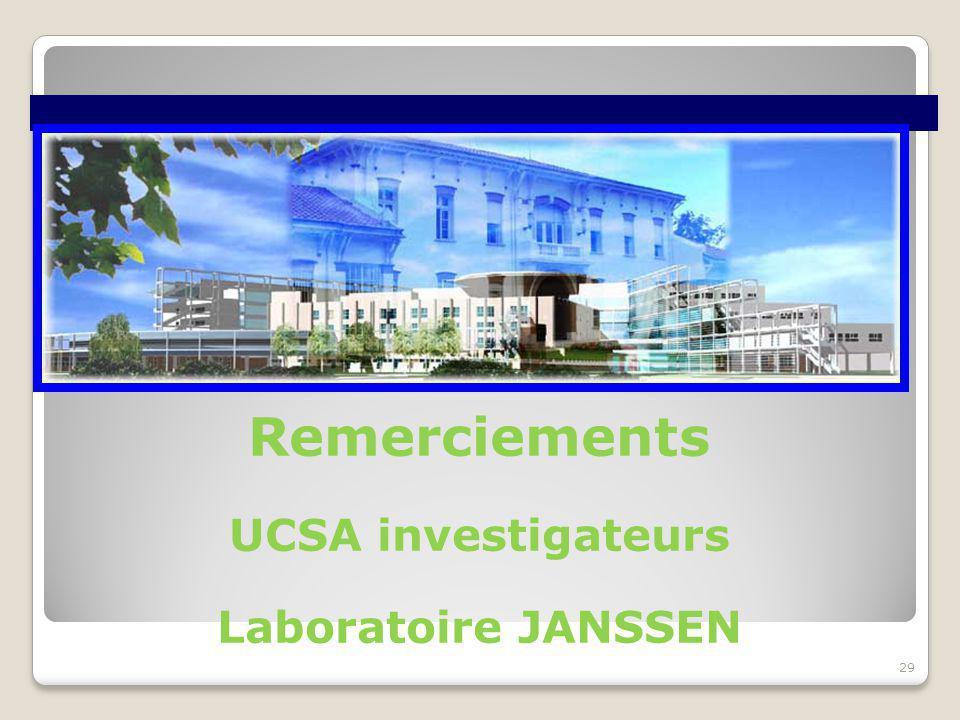 29 Remerciements UCSA investigateurs Laboratoire JANSSEN