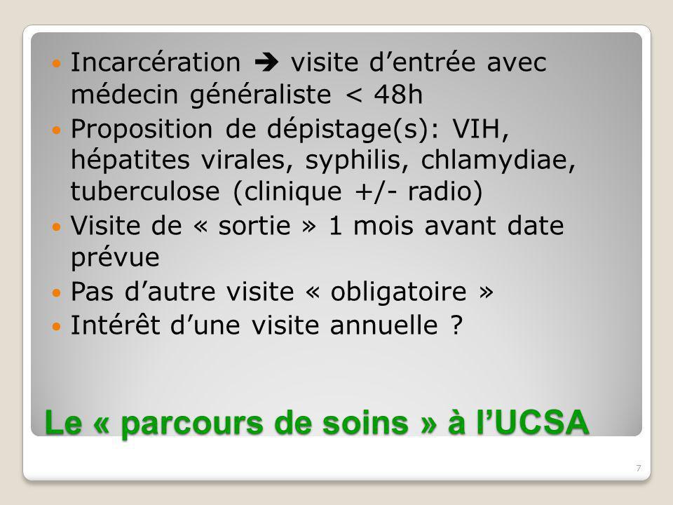 7 Le « parcours de soins » à l'UCSA Incarcération  visite d'entrée avec médecin généraliste < 48h Proposition de dépistage(s): VIH, hépatites virales
