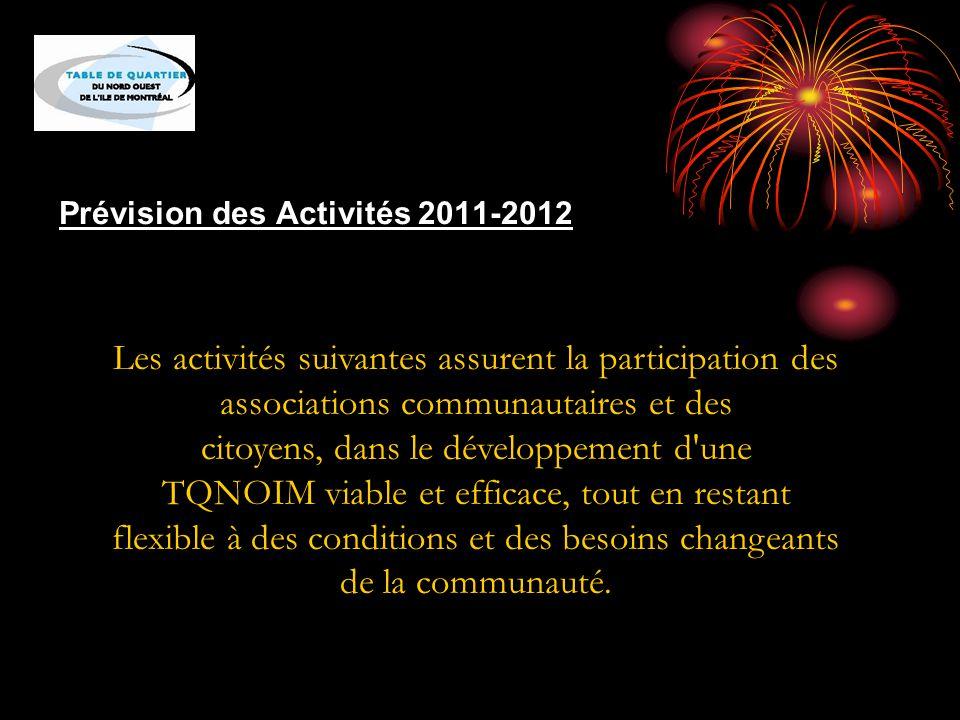 Prévision des Activités 2011-2012 Les activités suivantes assurent la participation des associations communautaires et des citoyens, dans le développement d une TQNOIM viable et efficace, tout en restant flexible à des conditions et des besoins changeants de la communauté.