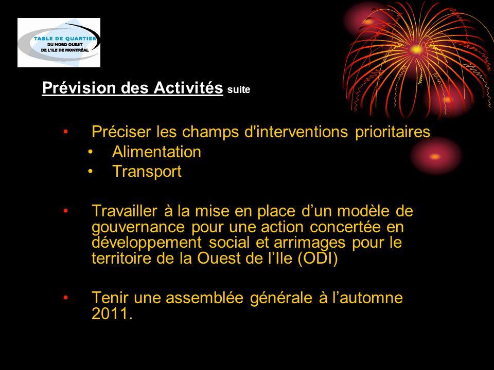 Prévision des Activités suite Préciser les champs d interventions prioritaires Alimentation Transport Travailler à la mise en place d'un modèle de gouvernance pour une action concertée en développement social et arrimages pour le territoire de la Ouest de l'Ile (ODI) Tenir une assemblée générale à l'automne 2011.