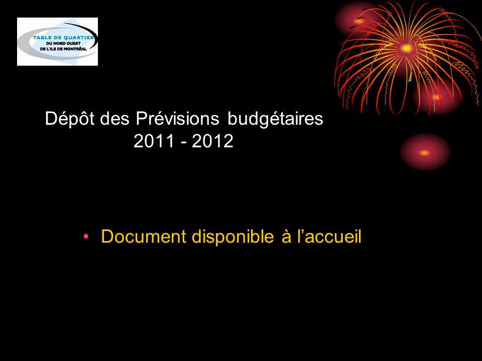 Dépôt des Prévisions budgétaires 2011 - 2012 Document disponible à l'accueil