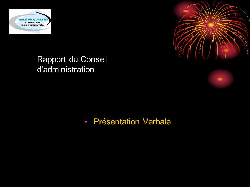 Rapport du Conseil d'administration Présentation Verbale