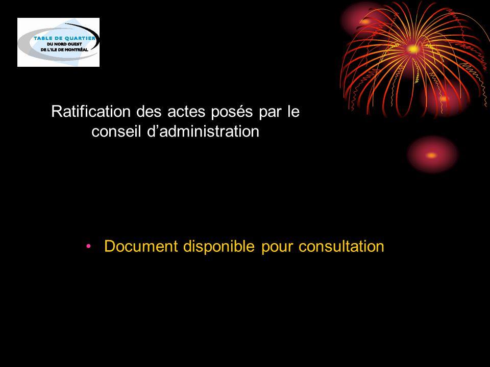 Ratification des actes posés par le conseil d'administration Document disponible pour consultation