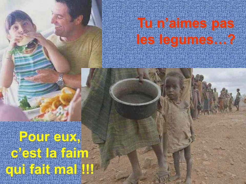 Tu n'aimes pas les legumes…? Pour eux, c'est la faim qui fait mal !!!