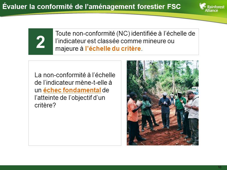 10 Évaluer la conformité de l'aménagement forestier FSC Toute non-conformité (NC) identifiée à l'échelle de l'indicateur est classée comme mineure ou majeure à l'échelle du critère.