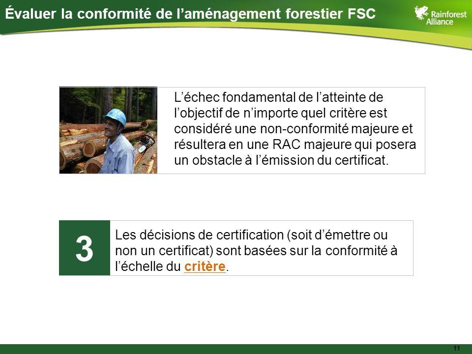 11 Évaluer la conformité de l'aménagement forestier FSC Les décisions de certification (soit d'émettre ou non un certificat) sont basées sur la conformité à l'échelle du critère.