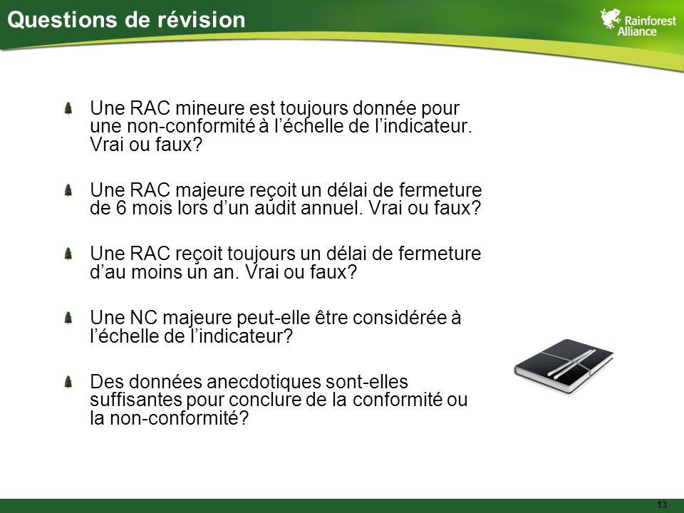 13 Une RAC mineure est toujours donnée pour une non-conformité à l'échelle de l'indicateur.
