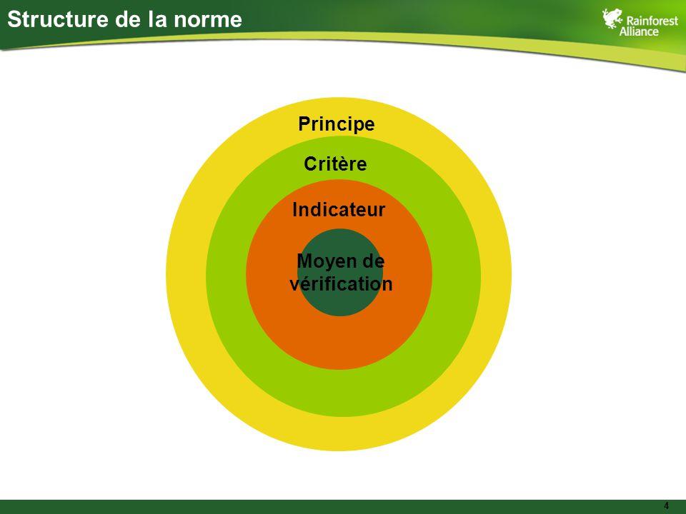 4 Structure de la norme Principe Critère Indicateur Moyen de vérification