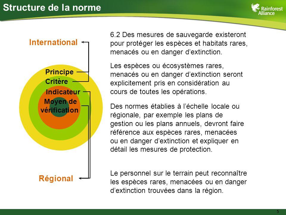5 Principe Critère Indicateur Moyen de vérification International Régional Structure de la norme 6.2 Des mesures de sauvegarde existeront pour protéger les espèces et habitats rares, menacés ou en danger d'extinction.