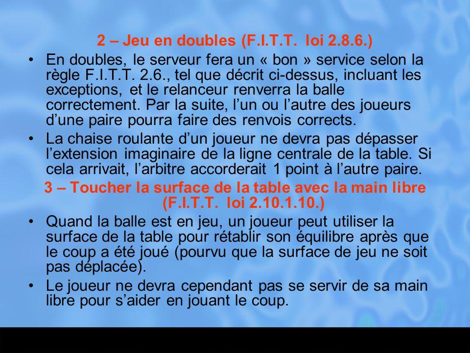 2 – Jeu en doubles (F.I.T.T. loi 2.8.6.) En doubles, le serveur fera un « bon » service selon la règle F.I.T.T. 2.6., tel que décrit ci-dessus, inclua