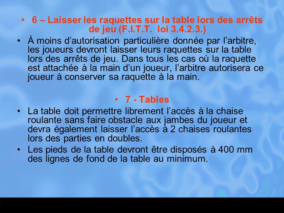 6 – Laisser les raquettes sur la table lors des arrêts de jeu (F.I.T.T. loi 3.4.2.3.) À moins d'autorisation particulière donnée par l'arbitre, les jo