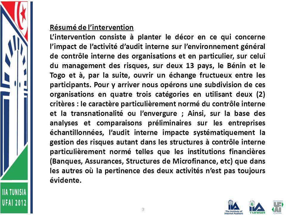 3 Résumé de l'intervention L'intervention consiste à planter le décor en ce qui concerne l'impact de l'activité d'audit interne sur l'environnement général de contrôle interne des organisations et en particulier, sur celui du management des risques, sur deux 13 pays, le Bénin et le Togo et à, par la suite, ouvrir un échange fructueux entre les participants.
