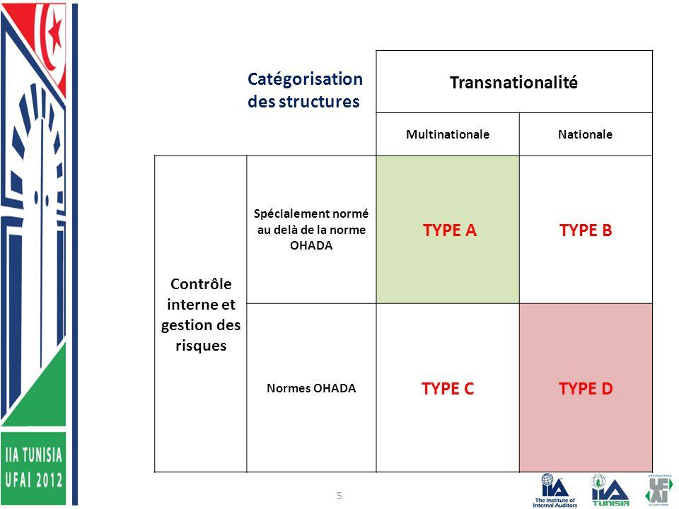5 Catégorisation des structures Transnationalité MultinationaleNationale Contrôle interne et gestion des risques Spécialement normé au delà de la norme OHADA TYPE ATYPE B Normes OHADA TYPE CTYPE D
