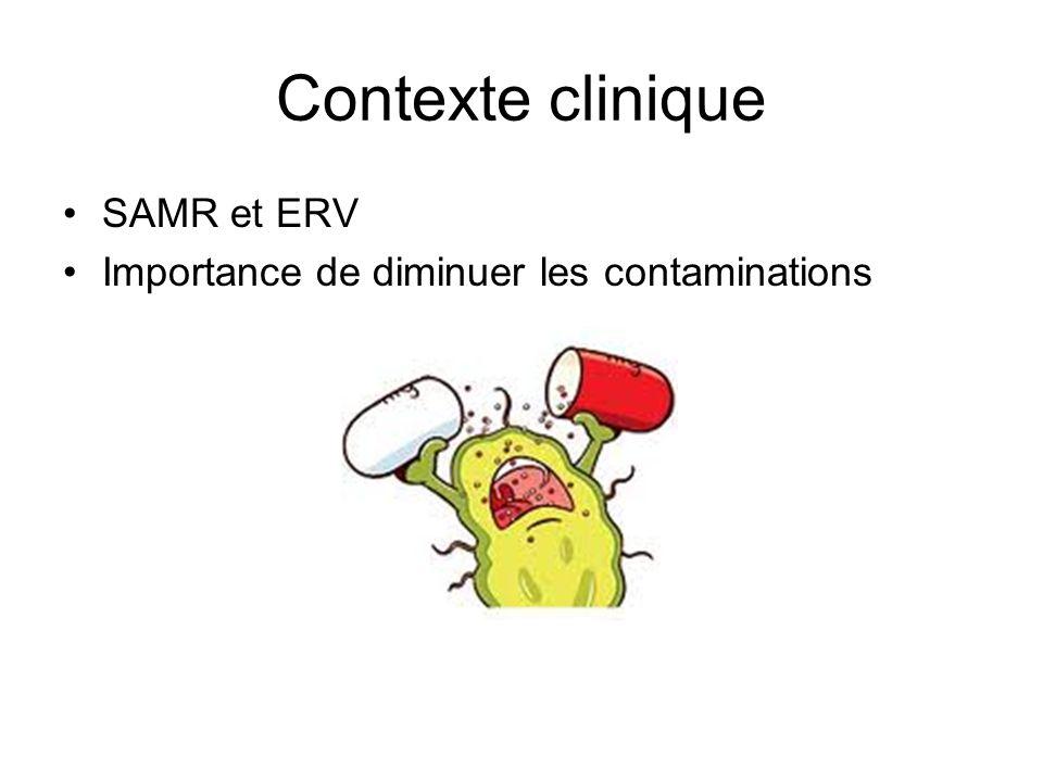Contexte clinique SAMR et ERV Importance de diminuer les contaminations