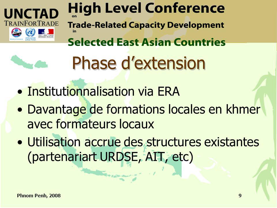 Phnom Penh, 20089 Phase d'extension Institutionnalisation via ERA Davantage de formations locales en khmer avec formateurs locaux Utilisation accrue des structures existantes (partenariart URDSE, AIT, etc)