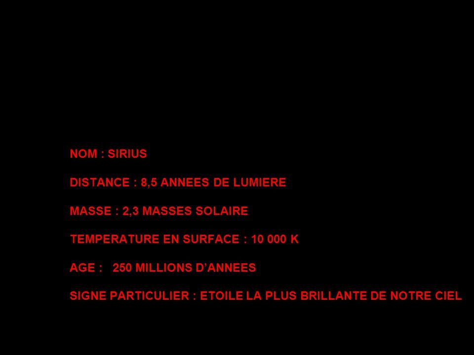 NOM : SIRIUS DISTANCE : 8,5 ANNEES DE LUMIERE MASSE : 2,3 MASSES SOLAIRE TEMPERATURE EN SURFACE : 10 000 K AGE : 250 MILLIONS D'ANNEES SIGNE PARTICULIER : ETOILE LA PLUS BRILLANTE DE NOTRE CIEL
