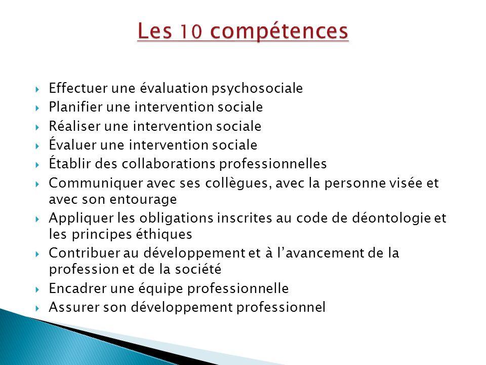  Effectuer une évaluation psychosociale  Planifier une intervention sociale  Réaliser une intervention sociale  Évaluer une intervention sociale 
