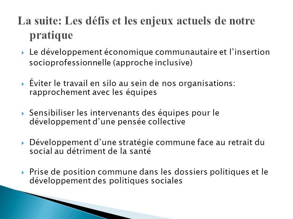  Le développement économique communautaire et l'insertion socioprofessionnelle (approche inclusive)  Éviter le travail en silo au sein de nos organi