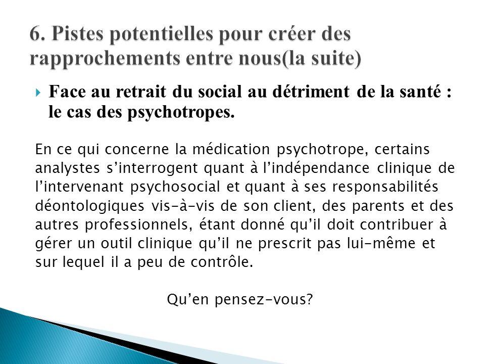  Face au retrait du social au détriment de la santé : le cas des psychotropes. En ce qui concerne la médication psychotrope, certains analystes s'int