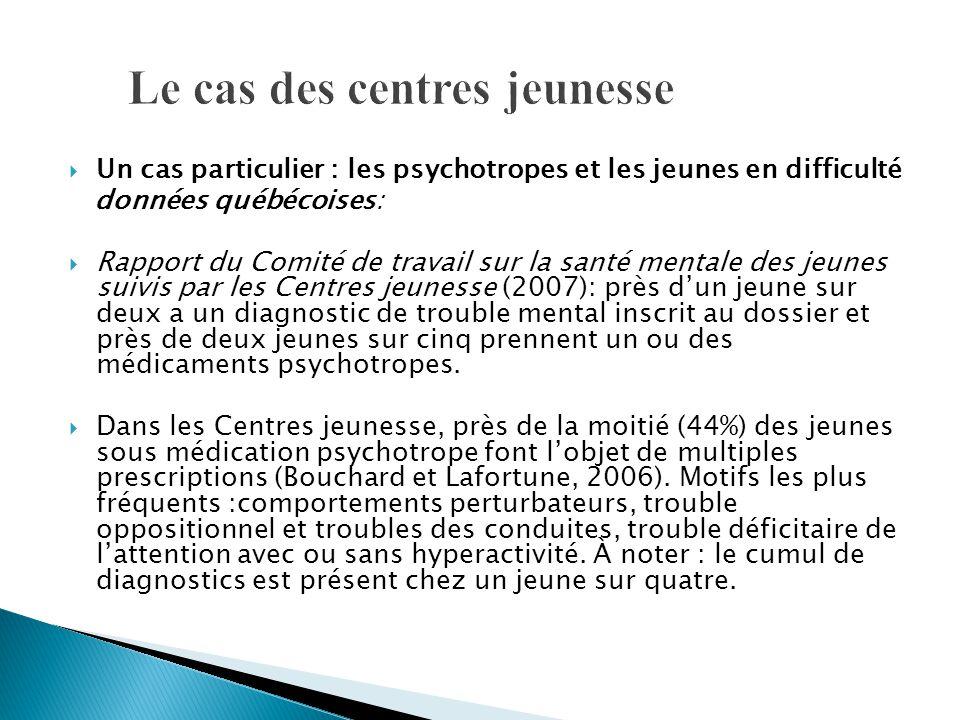  Un cas particulier : les psychotropes et les jeunes en difficulté données québécoises:  Rapport du Comité de travail sur la santé mentale des jeune