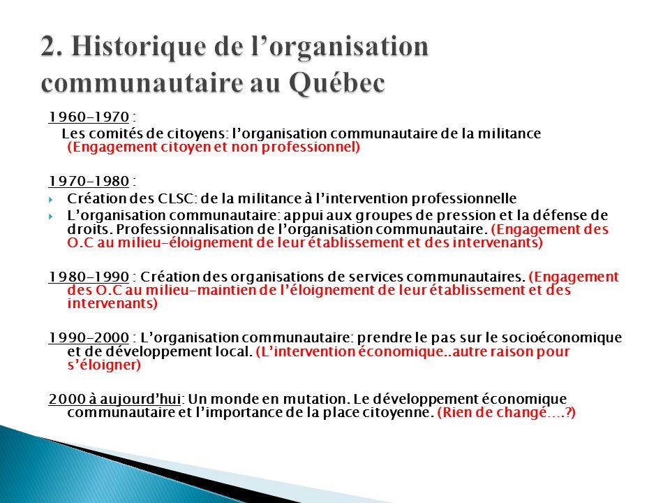 1960-1970 : Les comités de citoyens: l'organisation communautaire de la militance (Engagement citoyen et non professionnel) 1970-1980 :  Création des