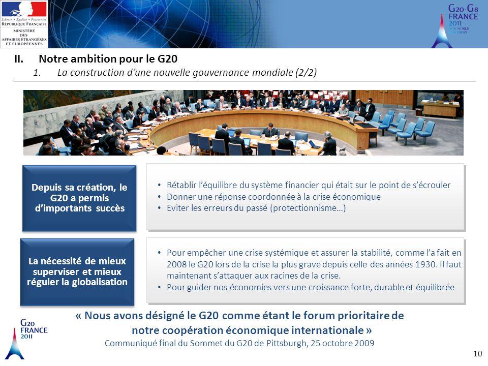 10 II.Notre ambition pour le G20 1.La construction d'une nouvelle gouvernance mondiale (2/2) « Nous avons désigné le G20 comme étant le forum priorita