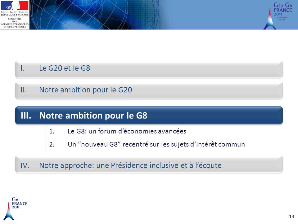 14 I.Le G20 et le G8 III.Notre ambition pour le G8 II.Notre ambition pour le G20 IV.Notre approche: une Présidence inclusive et à l'écoute 1.Le G8: un
