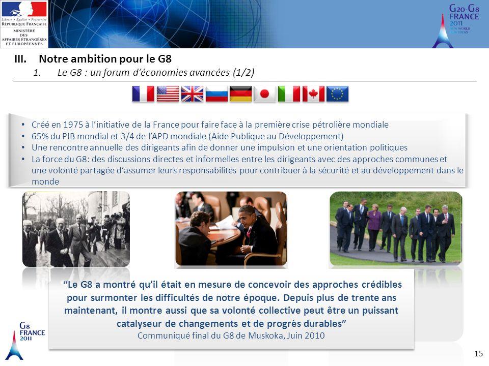 """15 III.Notre ambition pour le G8 1.Le G8 : un forum d'économies avancées (1/2) """"Le G8 a montré qu'il était en mesure de concevoir des approches crédib"""