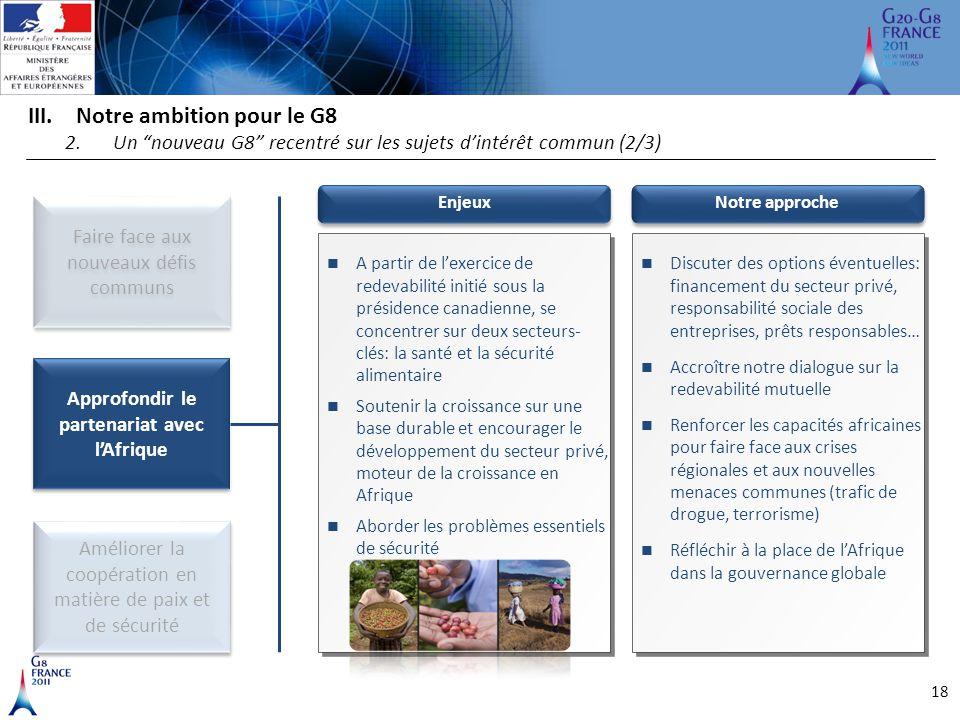 """18 III.Notre ambition pour le G8 2.Un """"nouveau G8"""" recentré sur les sujets d'intérêt commun (2/3) Améliorer la coopération en matière de paix et de sé"""