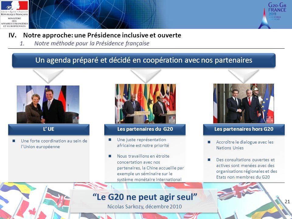 21 IV.Notre approche: une Présidence inclusive et ouverte 1.Notre méthode pour la Présidence française L' UE Une forte coordination au sein de l'Union
