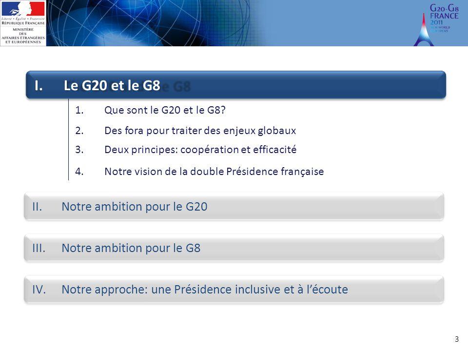 3 1.Que sont le G20 et le G8? 2.Des fora pour traiter des enjeux globaux 3.Deux principes: coopération et efficacité I.Le G20 et le G8 II.Notre ambiti