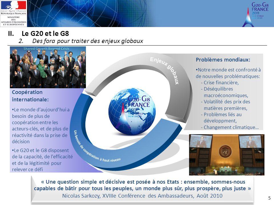 5 II.Le G20 et le G8 2.Des fora pour traiter des enjeux globaux Problèmes mondiaux: Notre monde est confronté à de nouvelles problématiques: ‐Crise fi