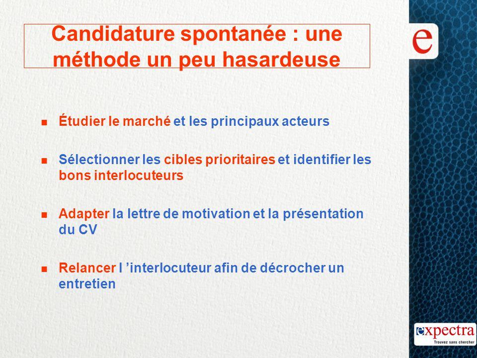 Candidature spontanée : une méthode un peu hasardeuse n Étudier le marché et les principaux acteurs n Sélectionner les cibles prioritaires et identifi