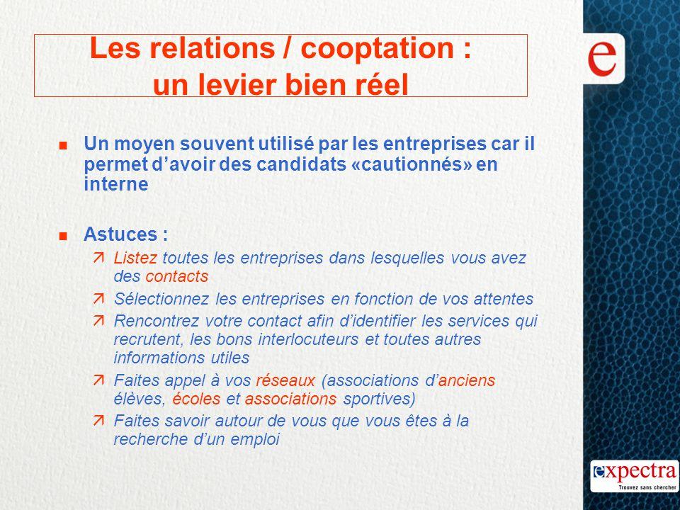 Les relations / cooptation : un levier bien réel n Un moyen souvent utilisé par les entreprises car il permet d'avoir des candidats «cautionnés» en in
