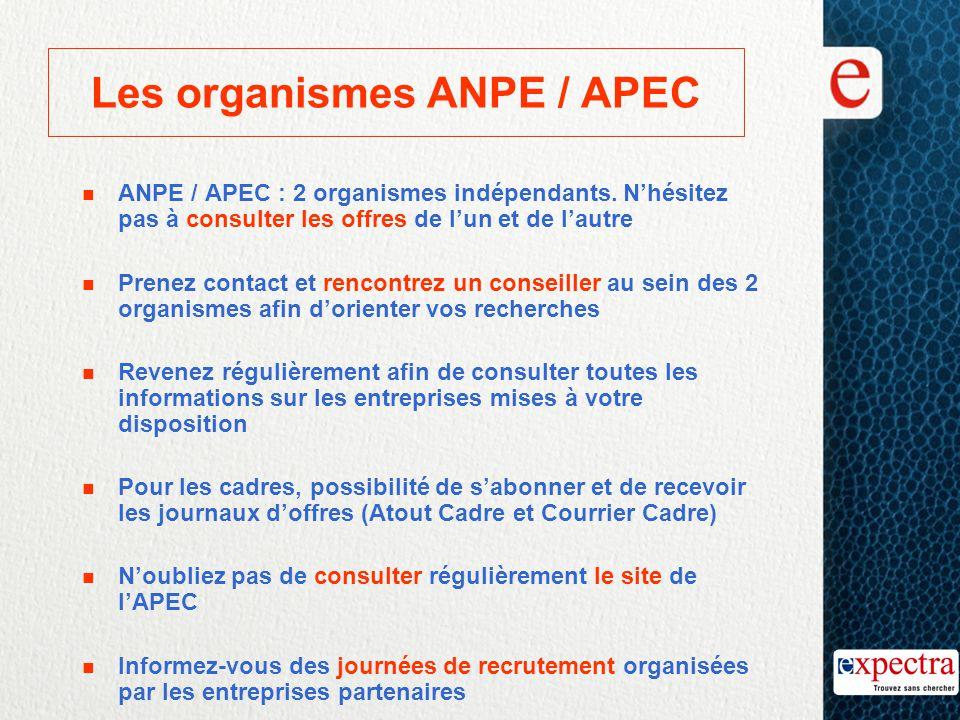 Les organismes ANPE / APEC n ANPE / APEC : 2 organismes indépendants. N'hésitez pas à consulter les offres de l'un et de l'autre n Prenez contact et r