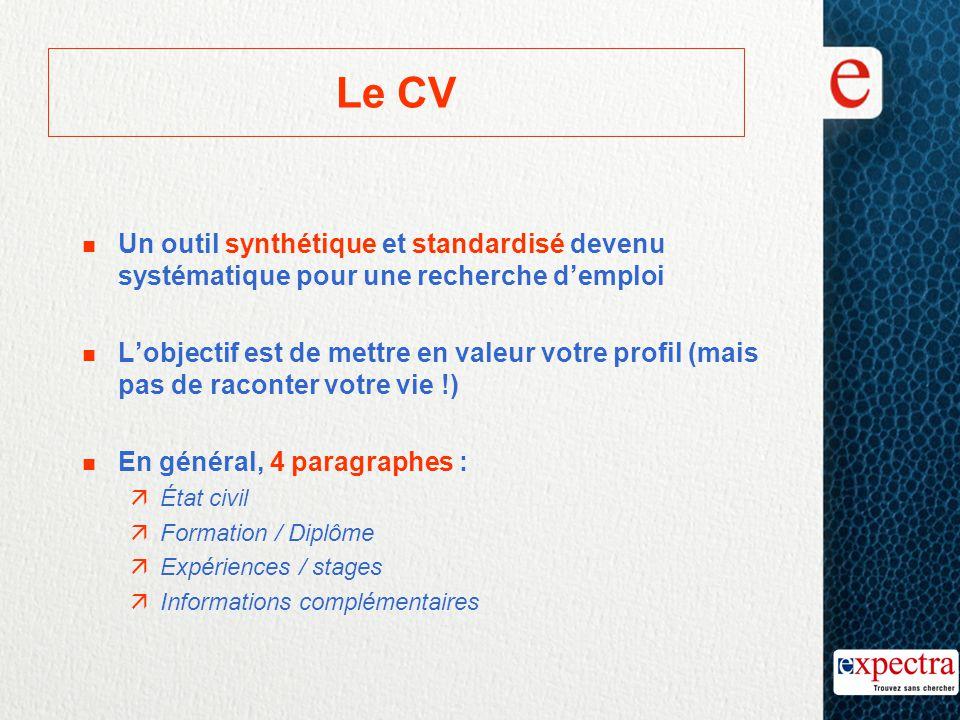 Le CV n Un outil synthétique et standardisé devenu systématique pour une recherche d'emploi L'objectif est de mettre en valeur votre profil (mais pas
