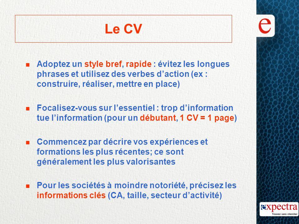 Le CV n Adoptez un style bref, rapide : évitez les longues phrases et utilisez des verbes d'action (ex : construire, réaliser, mettre en place) n Foca