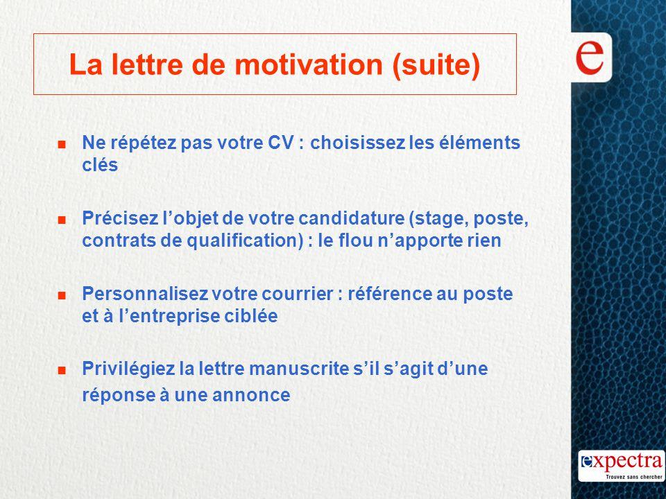 La lettre de motivation (suite) n Ne répétez pas votre CV : choisissez les éléments clés n Précisez l'objet de votre candidature (stage, poste, contra