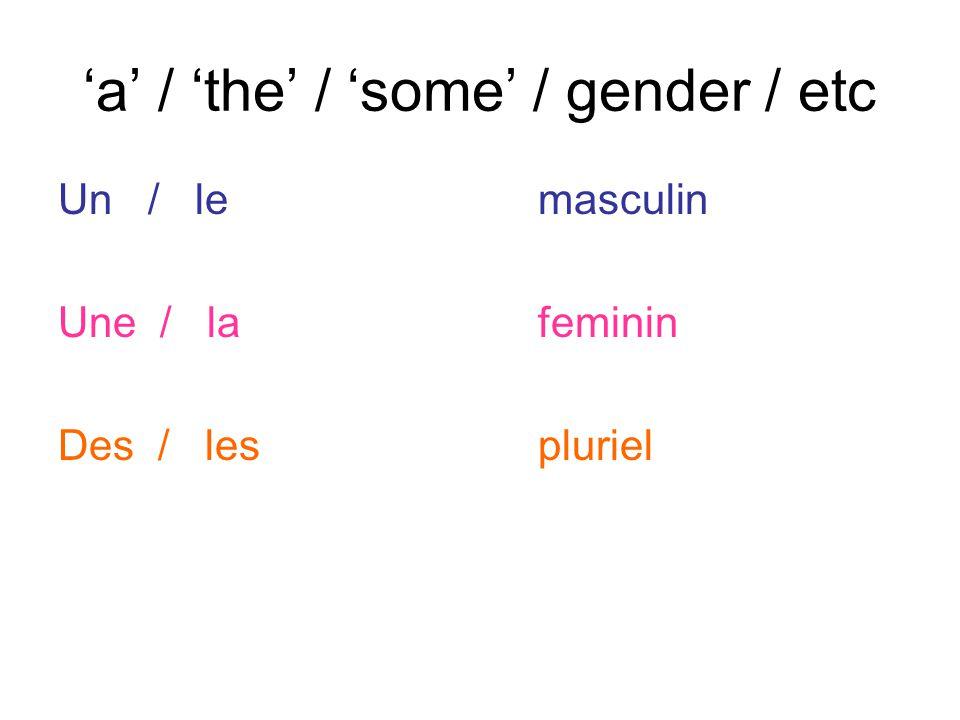 'a' / 'the' / 'some' / gender / etc Un / lemasculin Une / lafeminin Des / lespluriel