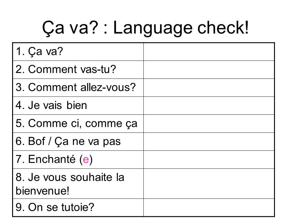 Ça va? : Language check! 1. Ça va? 2. Comment vas-tu? 3. Comment allez-vous? 4. Je vais bien 5. Comme ci, comme ça 6. Bof / Ça ne va pas 7. Enchanté (