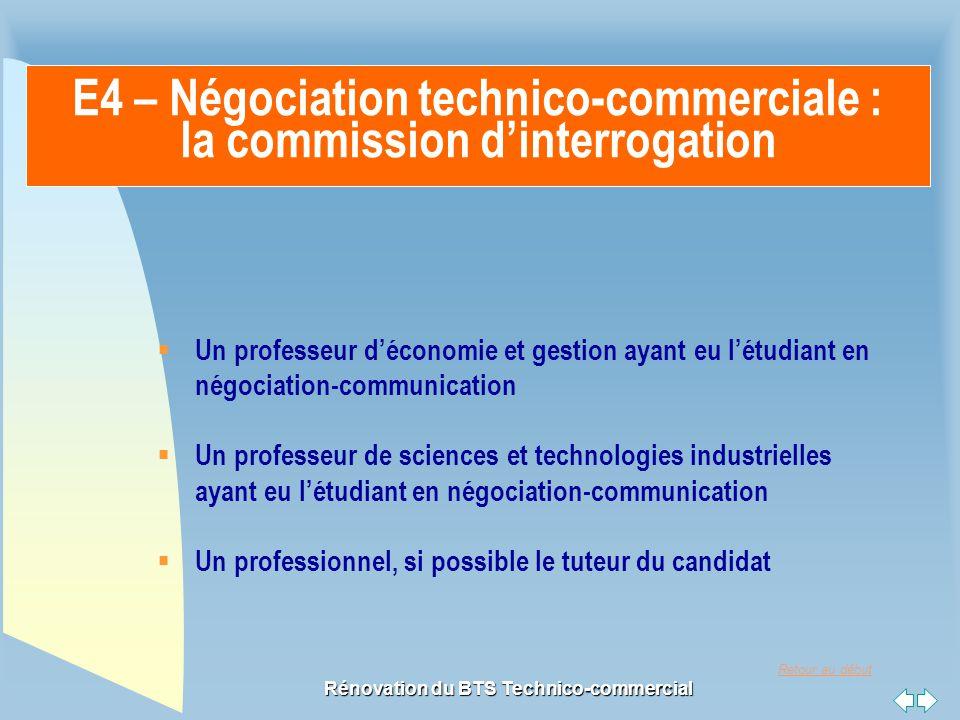 Retour au début Rénovation du BTS Technico-commercial E4 – Négociation technico-commerciale : la commission d'interrogation  Un professeur d'économie