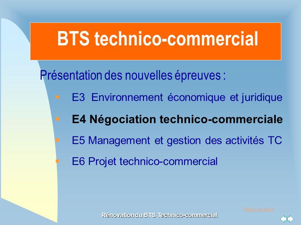 Retour au début Rénovation du BTS Technico-commercial BTS technico-commercial Présentation des nouvelles épreuves :  E3 Environnement économique et j