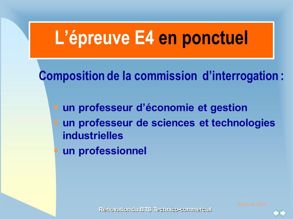 Retour au début Rénovation du BTS Technico-commercial L'épreuve E4 en ponctuel Composition de la commission d'interrogation :  un professeur d'économ