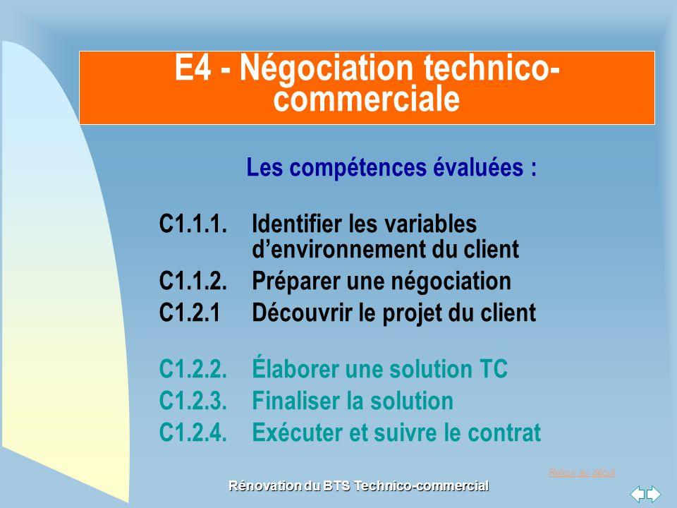Retour au début Rénovation du BTS Technico-commercial Les compétences évaluées : C1.1.1. Identifier les variables d'environnement du client C1.1.2. Pr
