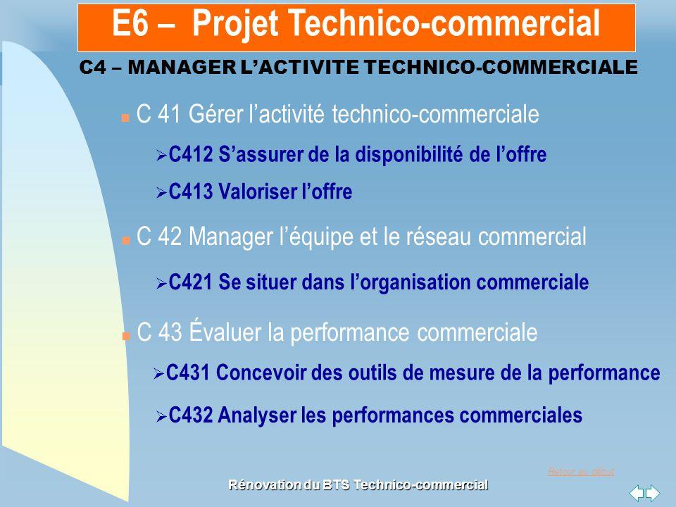 Retour au début Rénovation du BTS Technico-commercial C4 – MANAGER L'ACTIVITE TECHNICO-COMMERCIALE n C 41 Gérer l'activité technico-commerciale n C 42 Manager l'équipe et le réseau commercial  C412 S'assurer de la disponibilité de l'offre C412 S'assurer de la disponibilité de l'offre  C413 Valoriser l'offre C413 Valoriser l'offre  C421 Se situer dans l'organisation commerciale C421 Se situer dans l'organisation commerciale  C431 Concevoir des outils de mesure de la performance C431 Concevoir des outils de mesure de la performance  C432 Analyser les performances commerciales C432 Analyser les performances commerciales n C 43 Évaluer la performance commerciale E6 – Projet Technico-commercial
