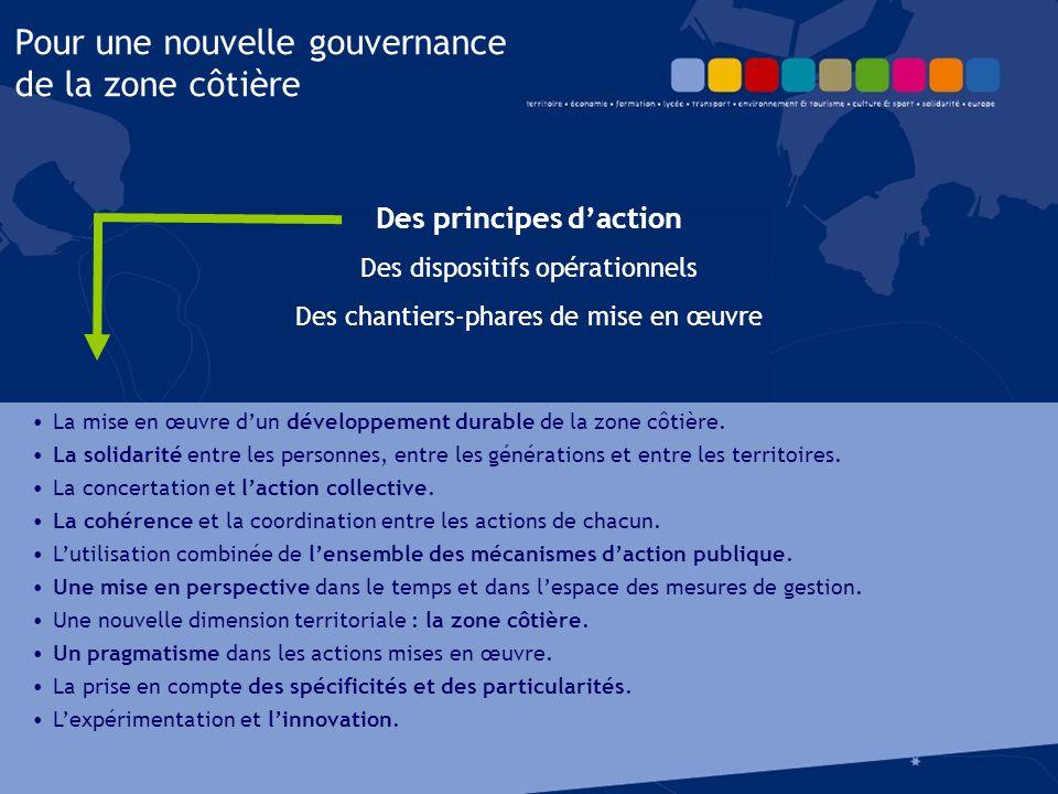 Des principes d'action Des dispositifs opérationnels Des chantiers-phares de mise en œuvre Pour une nouvelle gouvernance de la zone côtière La mise en