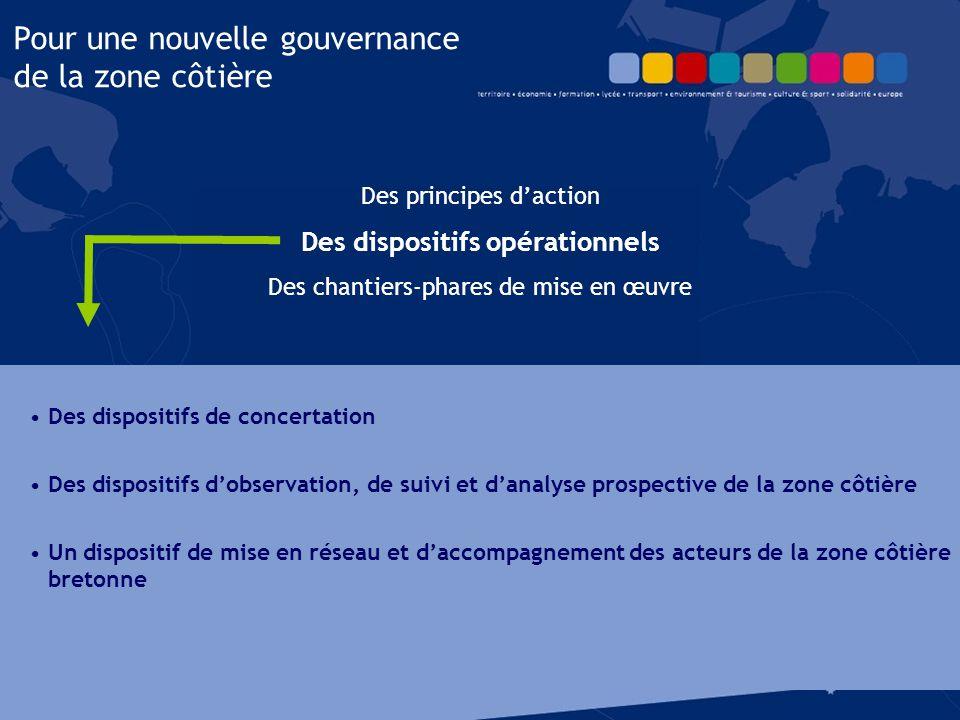 Des principes d'action Des dispositifs opérationnels Des chantiers-phares de mise en œuvre Pour une nouvelle gouvernance de la zone côtière 1.Renforcer l'ambition maritime des Bretons.