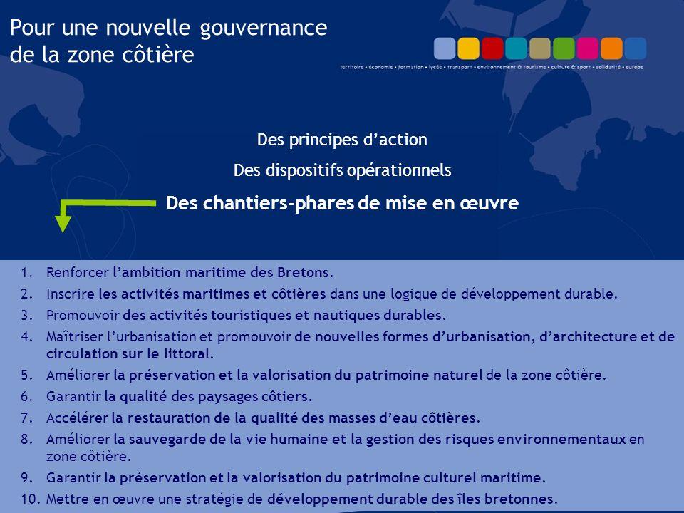 Des principes d'action Des dispositifs opérationnels Des chantiers-phares de mise en œuvre Pour une nouvelle gouvernance de la zone côtière 1.Renforce