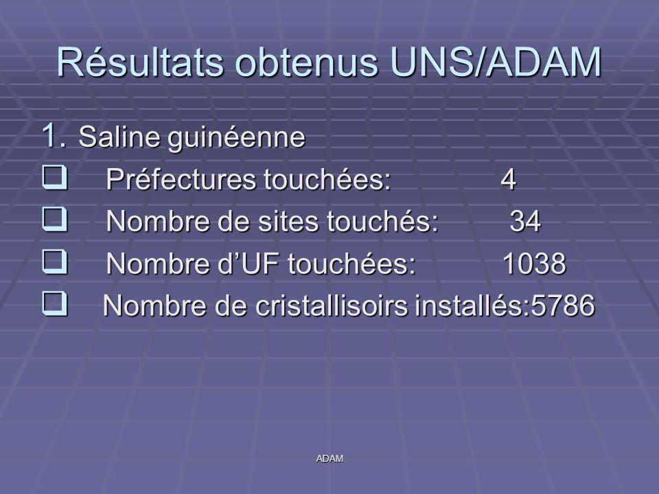 ADAM Résultats obtenus UNS/ADAM 1. Saline guinéenne  Préfectures touchées: 4  Nombre de sites touchés: 34  Nombre d'UF touchées:1038  Nombre de cr
