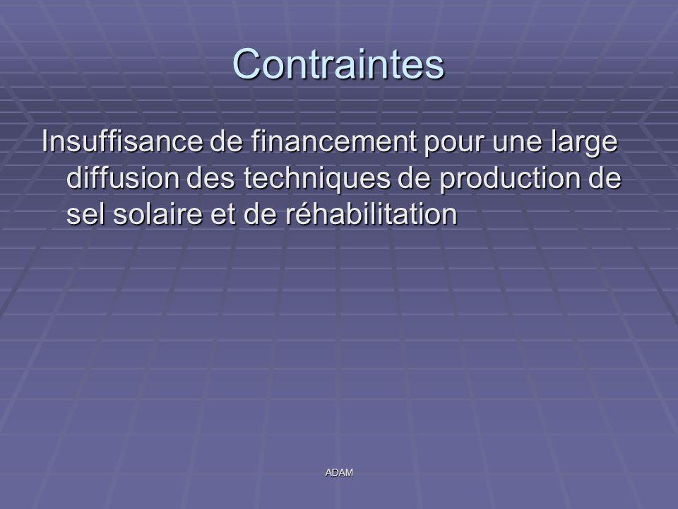 ADAM Contraintes Insuffisance de financement pour une large diffusion des techniques de production de sel solaire et de réhabilitation